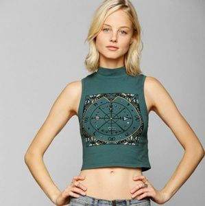 Jeweled Mock-Neck Cropped Tee